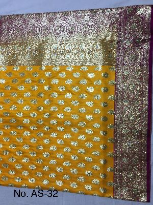 Satin Embroidered Saree 05