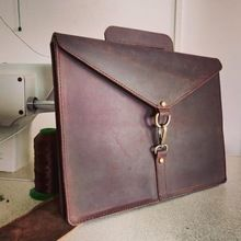 Real buffalo leather ipad case laptop sleeve