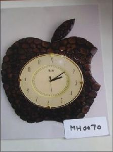 Apple Shaped Wooden Wall Clock