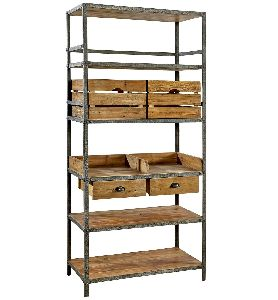 INDUSTRIAL METAL AND WOOD BOOKCASE WITH STORAGE BIN