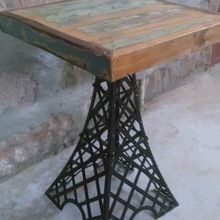 Industrial eiffel tower stool with reclaimed wood top