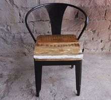 Iron Chair With Wood Top, Arms Chair, Antique Chair, Vintage Furniture