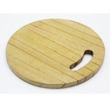 Round wooden chopping board for usage kitchen