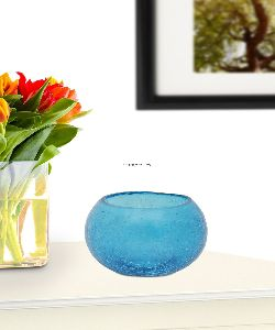 Blue Glass Candle Tea Light Holder