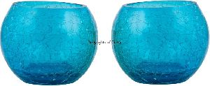 Blue Pair Glass Candle Tea Light Holder
