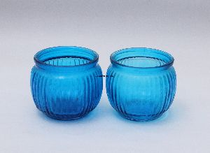 Blue Pair Plain Glass Candle & Tea Light Holder