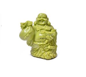 Green Color Laughing Buddha Statue