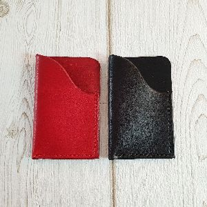 Leather Red & Black Leather Coin Holder