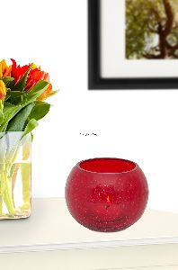 Red Glass Candle Tea Light Holder
