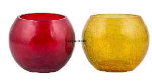 Red & Yellow Pair Glass Candle Tea Light Holder
