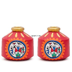 Terracota Painting Wood Made Miniature Multipurpose Matka Pot