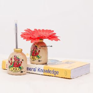 Terracota Painting Wood Made Miniature Flower Vase