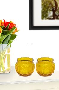 Yellow Pair Plain Glass Candle & Tea Light Holder