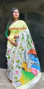 Hand Painted Kerala Cotton Saree