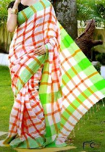 Khadi Check Saree