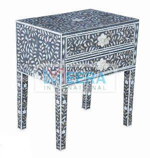 MB261 Bone Inlay Bedside Table
