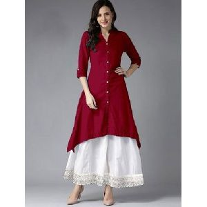 Ladies Band Collar Designer Kurti