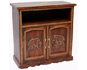 ANTIQUE TWO DOOR ELEPHANT CARVED SIDEBOARD