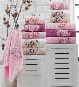 6 Piece 3D Embroidered Towel Set