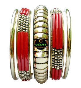 Glass & Brass Bangle Set