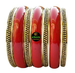 Meena and Brass Bangle Set