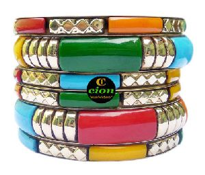 Resin and Brass Multicolour Bangle Set