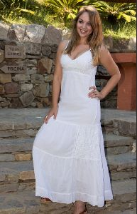 White Embroidered Cotton Maxi Dress