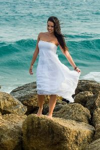 White Strapless Cotton Dresses