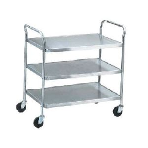 Stainless Steel Three Shelf Trolley