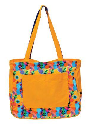 GAJB-116L Flower Print Yellow Large Sized Bag