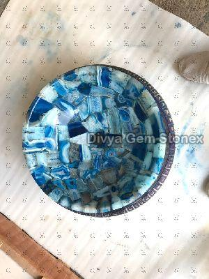 Blue Agate Round Wash Basin