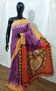 Hand Printed Mulmul Cotton Saree