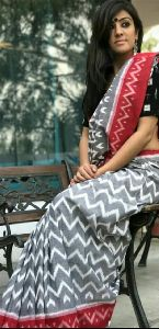 Ikkat Print Mulmul Cotton Saree