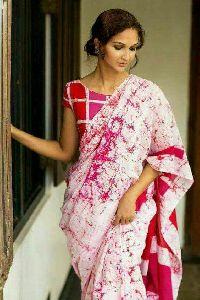 Wax Batik Printed Cotton Saree