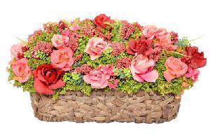 Artificial Roses Basket Bouquet