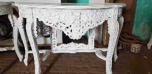 White Carved Table