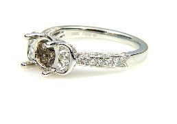 0.70 Ct Diamond & 18KT White Gold Semi Mount Ring