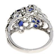 1.60 Ct Diamond & 18KT White Gold Sapphire Ring