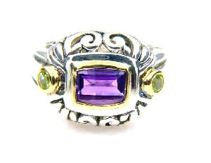 Sterling Silver Amethyst Peridot Ring