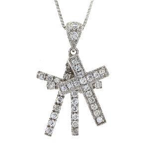 .33 Ct Diamond & 18KT White Gold Cross Religious Pendant