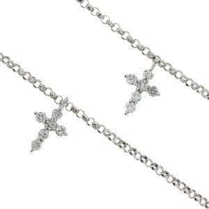 .40ct Diamond & 18K White Gold Cross Religious Pendant