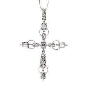 .50ct Diamond & 18KT White Gold Cross Religious Pendant