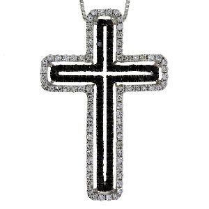 .63 Ct Diamond & 18KT White Gold Cross Religious Pendant 01