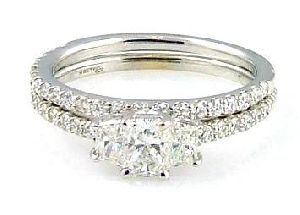 1.27 C t.  Diamond & 18KT White Gold Ring Set
