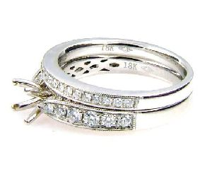 0.75  Diamond & 18KT White Gold Semi Mount Ring