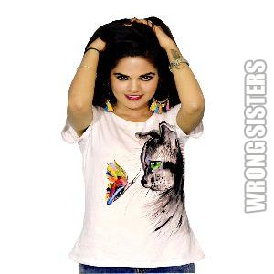 Cat and Butterfly Painted T-Shirt