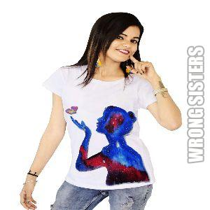 Galaxy Avatar Girl Painted T-Shirt