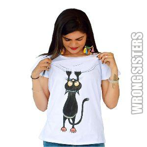Hanging Cat Painted T-Shirt