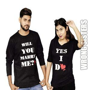 Marry Me Printed Couple T-Shirt