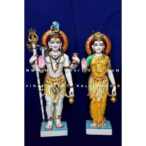 Multicolor Shiv Parvati Ji Marble Statue